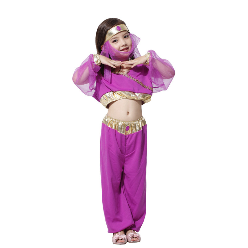Umorden Purple Arabian Princess Costumes for Girls Kids Child Belly Dance Dress Carnival Halloween Party Fantasy Cosplay