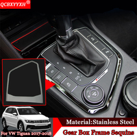 Car styling Car Gear Shift Box Sequins Cover Trim Stall Decoration Strip Internal Auto Stickers For Volkswagen Tiguan 2017 2018