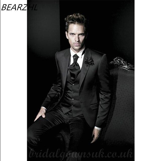 Esmoquin de boda para hombres traje negro brillante novio trajes cena traje  personalizado alta calidad 2016 95f5070d45d