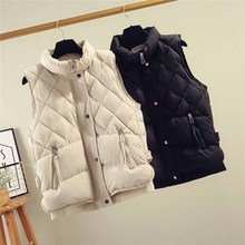 цена Vest female autumn and winter short paragraph 2019 new Korean version of down cotton vest loose bf vest student vest jacket