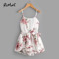 ROMWE Floral Print Random Tie Open Back Cami Romper White Rompers For Women Summer Sleeveless Sexy