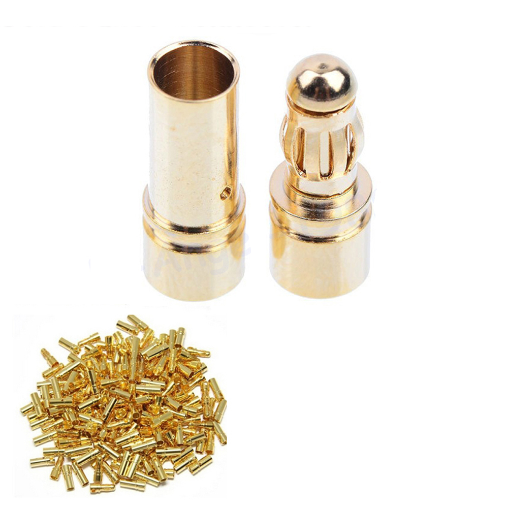 wholesale 100pairs lot 3 5mm Gold Bullet Banana Connector Plug male female For rc ESC Battery