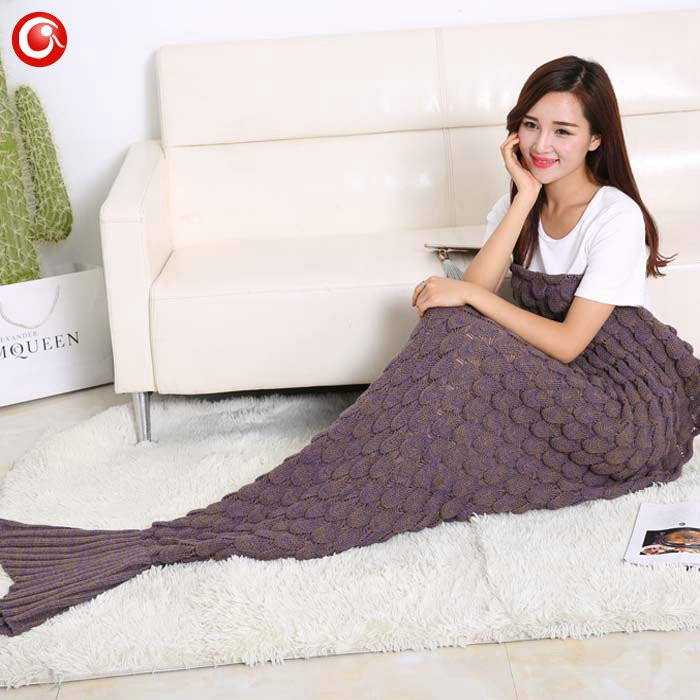 Baby Knitted Crochet Mermaid Blanket For Mother&Baby Infant Newborn Handmade Bed Wrap Throw Sleeping Bag Soft (19)