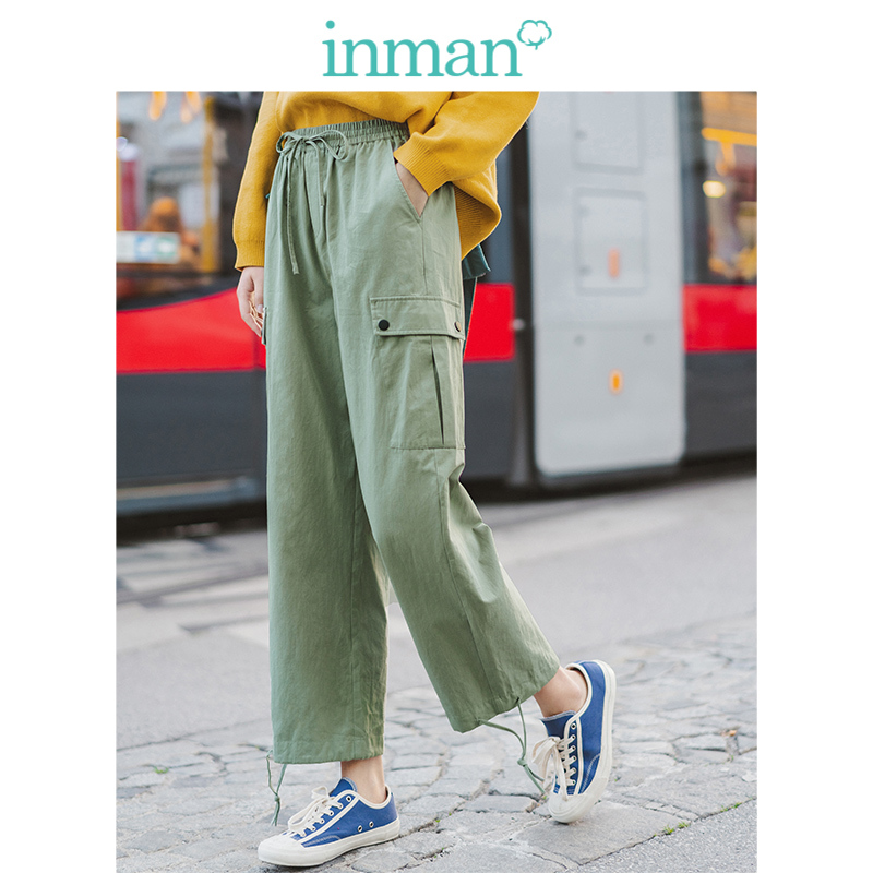 INMAN Spring Autumn 100%Cotton Solid Elastic Waist Pocket Fashion Cool Women Cargo Pants