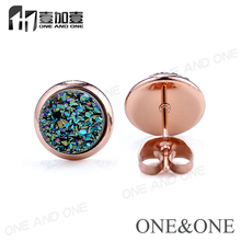EYIKA Jewelry Sale Stainless Steel Stud earrings Round 8mm Rainbow Green Natural Druzy Earrings for gift/party free shipping