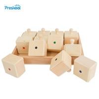 Montessori Gehör Box Montessori lehrmittel holz spielzeug Kindergarten sound identifikation kinder frühe bildung puzzle auf