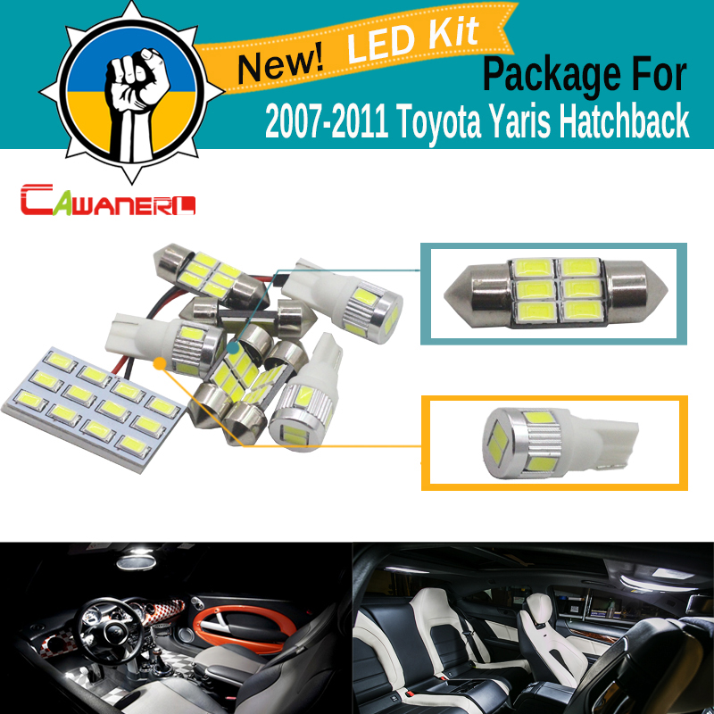 Cawanerl 8 x Car 5630 SMD LED Bulb White LED Kit Package Dome Map Trunk License Plate Light For 2007-2011 Toyota Yaris Hatchback 40mm 5w 525lm 3036k 10 smd 5630 led warm white light bulb aluminum plate orange white
