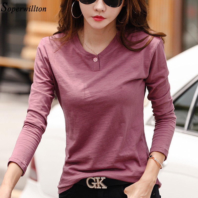 100% Cotton T Shirt Women Long Sleeve Tshirt Female 2020 Spring Autumn Ladies Tops Tee Shirt Femme Plus Size 3XL White Black G79(China)