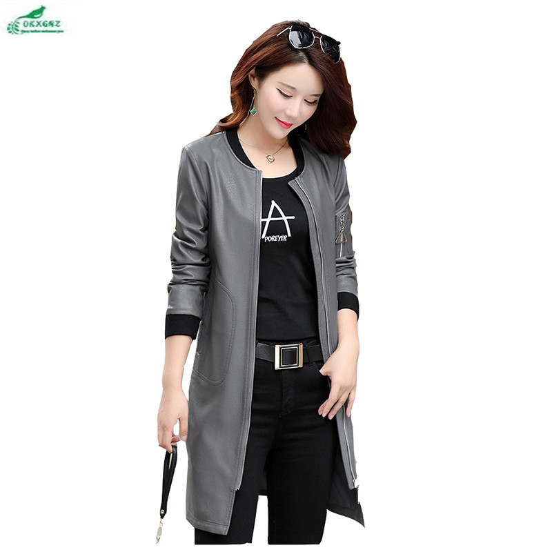 Fat mm Women autumn winter clothing fashion casual Outerwear high-end long-term long-sleeved pu   leather   windbreaker coat OKXGNZ
