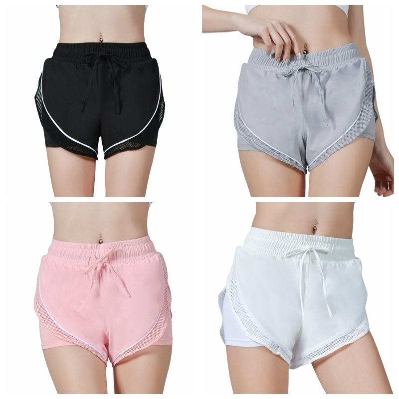 Women Summer Solid Color Fake Two-Piece Mesh Breathable Home Fitness Mid Rise Shorts Drawstring Elastic Waist Sports Shorts