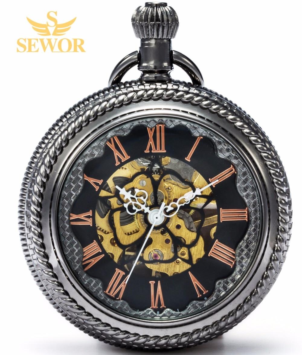 2017 SEWOR Top Brand Fashion Black Bronze Quartz Enamel Red Roman NumberPocket Watch black Dial C165