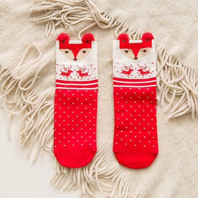 2018 Mới 4 đôi Mùa Đông Nữ Vớ Giáng Sinh Hoạt Hình Dễ Thương Nai Sừng Tấm Người Tuyết Santa Nữ Giữa bê Tất Calcetines Mujer có Hộp Làm Quà Tặng