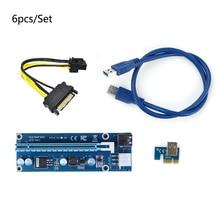 6pcs Blue 6pin riser USB 3.0 PCI-E Express 1x  Extender Riser Card Adapter sata to 6pin power supplyer riser card for mining