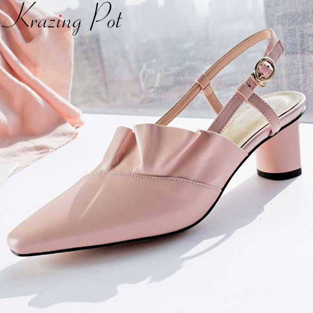 2019 big size concise princess style high heels cow leather square toe buckle strap beauty women