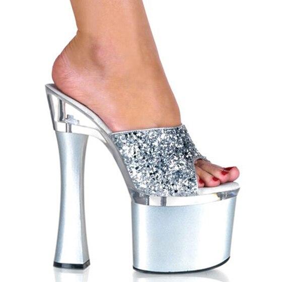 Hausschuhe Sexy Weiblichen Super transparent Große Sommer 18 Nachtclub Wasserdichte Hohe Sandalen Und Hass black Schuhe Plattform Ferse Silver Größe Bequeme Cm q4Zw0q8
