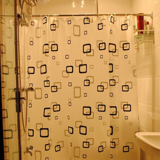 Convenient Useful Black White Square Shower Bathroom Thickened Curtains Smooth Plaid