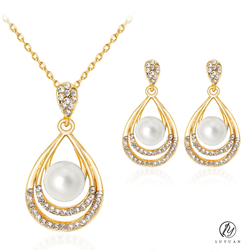 Fashion Pearl Water Drop Women Necklace Sets Dubai Gold Color Vintage  Simulated Pearl Jewelry Exquisite Crystal