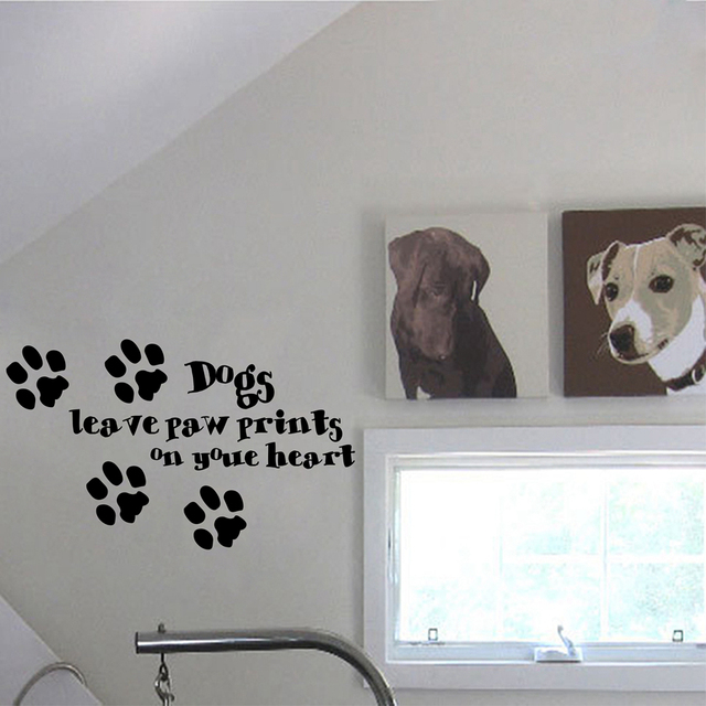 dog wall sticker home decor dogs leave paw prints on your heart