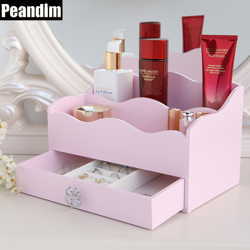 PEANDIM Homd Decor Wood Makeup Box One Draw Jewelry Display Box 6 Grids Cosmetic Box Storage