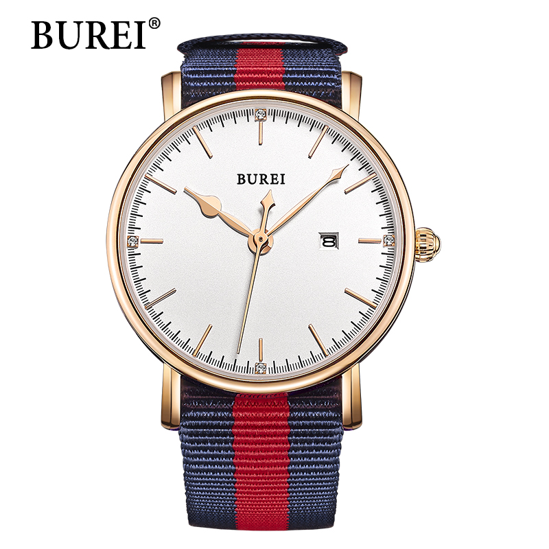 BUREI женщин часы бренда роскоши 2016 моды Часы нейлон ткань Дата водонепроницаемые антибликовое сапфировое стекло кварца наручные часы