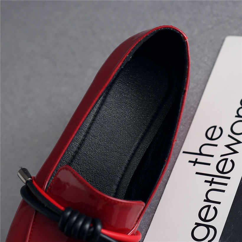 2019 Britse Vrouwen Loafers Rode Lakleer Vierkante Teen Touw Flats Casual Dames Retro Slip-on Lage Hoof Hak oxford Jurk Schoenen
