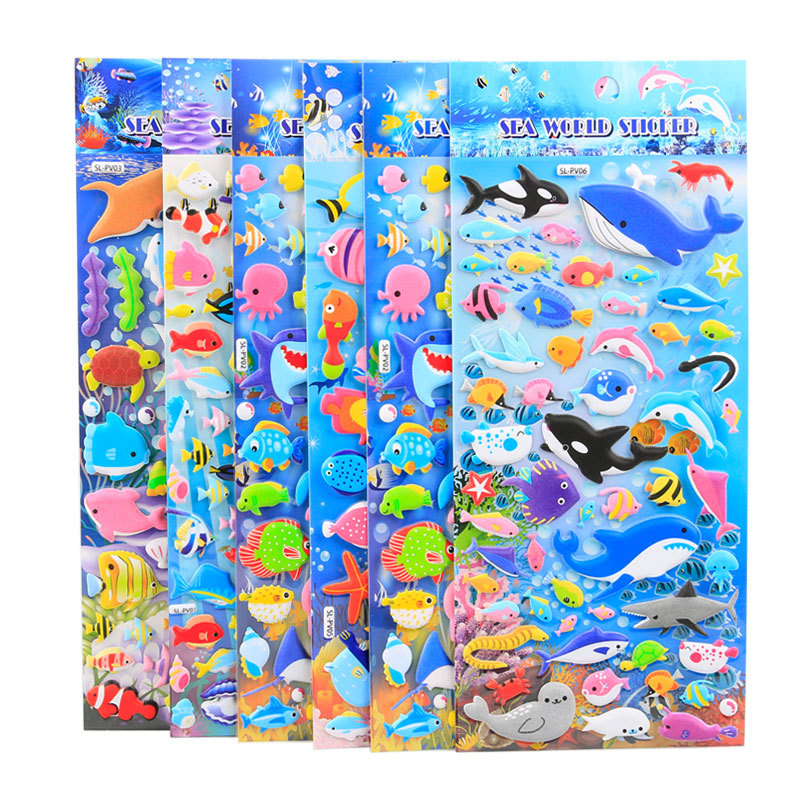 Ocean Animal Kawaii Bubble Stickers Children Cartoon Bubble Stickers 3D Bubble Stickers Kids Boys Girls Cute Puffy Stickers XQ20