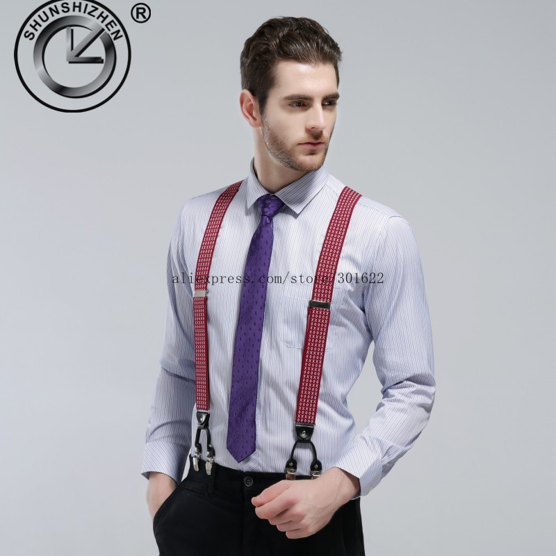 Top Fashion Classic  Elastic Clip-on Adjustable Brace Suspenders Gallus With 6 Clips Men Suspender