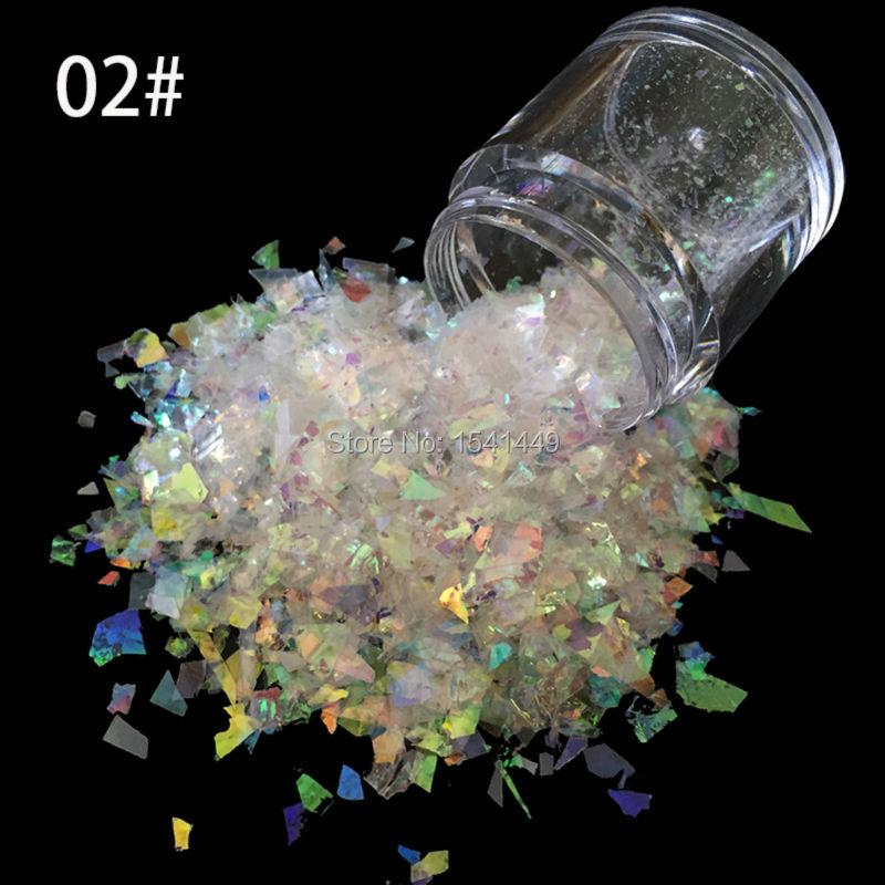 10g/ bottle of Nail Art White Ice Mylar Foil Shell glitter power Manicure decoration tools SG-02