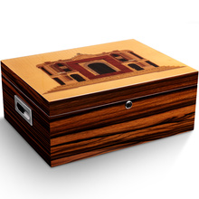лучшая цена luxury Cedar Wood Cigar Humidor Moisturizing Humidor Cabinet Cigar Case With Hygrometer Humidifier CA-051