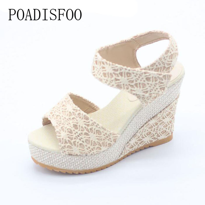 POADISFOO Size 35-40 Women Sandals Summer New Open Toe Fish Head Fashion platform High Heels Wedge Sandals shoes.HYKL-3376