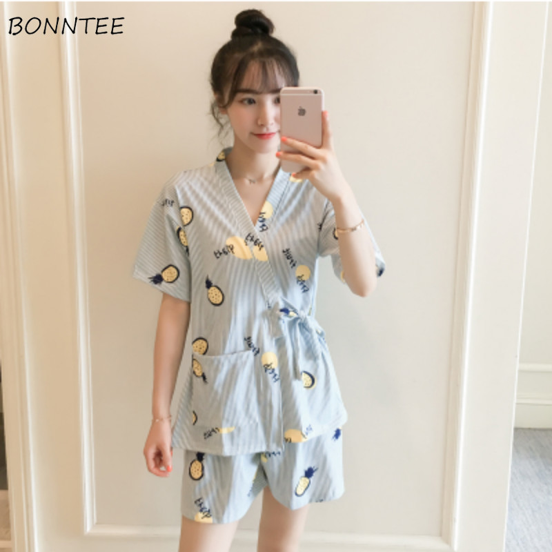 Pajama     Sets   Women Korean Style Trendy Daily Home Printed Leisure Womens Clothing Elegant Loose High Quality All-match Summer New