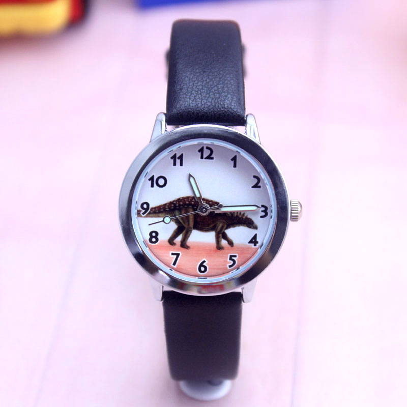 Children Boys Girls Quartz Cartoon Anime Dinosaur Animals Watches Kids Fashion Leather Cool Wristwatch Students Birthday Gifts