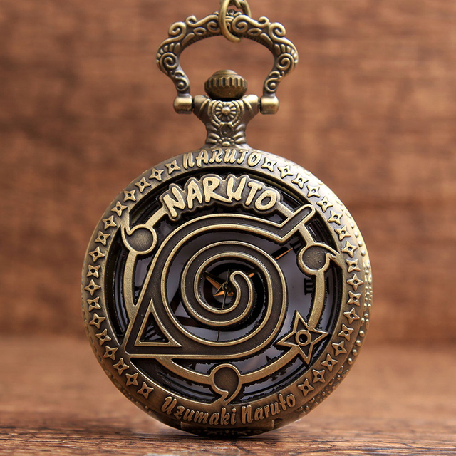 Bronze Uzumaki Naruto Hollow Quartz Pocket Watch Necklace Pendant Chain Gift for