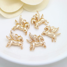 6PCS 16x15MM 24K Champagne Gold Color Plated Brass Pegasus Horse Charms Pendants High Quality Diy Jewelry Accessories