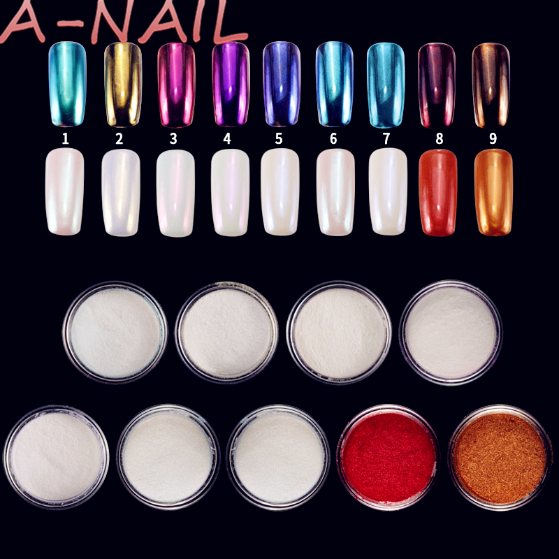 9 boxes Mirror Nail Glitter Pigment Powder 1g Gold Blue Purple Dust Manicure Nail Art Glitter Chrome Powder Decorations 4pc magic mirror powder dust nail glitter diy nail art tips sequins chrome effect pigment nail art decoration tools