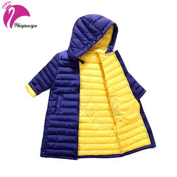 Zima w dół Parka płaszcz dla dziewczyn nowa marka moda solidna Bluza Unisex Kids kurtki dzieci bawełna w dół ciepłe Casacos Outnosi tanie i dobre opinie Odzież wierzchnia i Płaszcze W dół Parkas Regularne Hooded Biała kaczka w dół CH-T0225 Sukno Pasuje do rozmiaru Weź swój normalny rozmiar