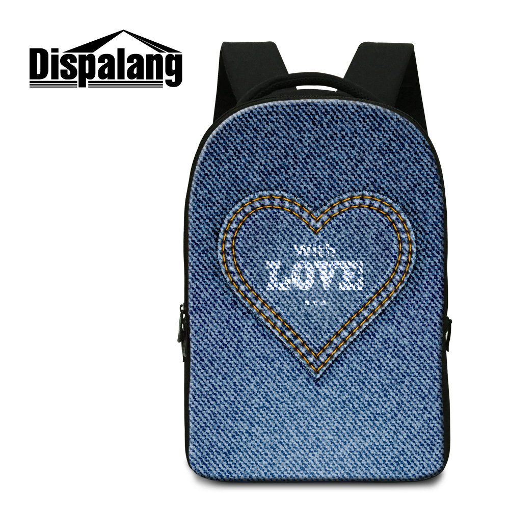 Dispalang 3D denim love printing backpack for students jean design school book bags for boys girl large laptop backpacks for men