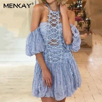 [MENKAY] Beading Patchwork Sexy Dress For Women Off Shoulder Halter Puff Sleeve Hollow Out Slim Mini Beach Dresses Female Summer