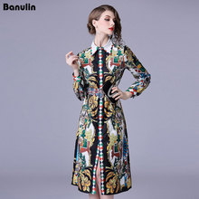 2018 Runway Spring Summer Slim Dress Women's Long Sleeves Single Breasted Shirts Dress Floral Print Party Knee-Length Dress black floral print 3 4 length sleeves long coat