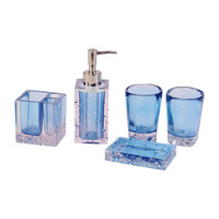 5 Pcs Resin Bath Set Bathroom Accessories Soap Dish +Toothbrush Holder+Lotion Dispenser+Tumblers RT99
