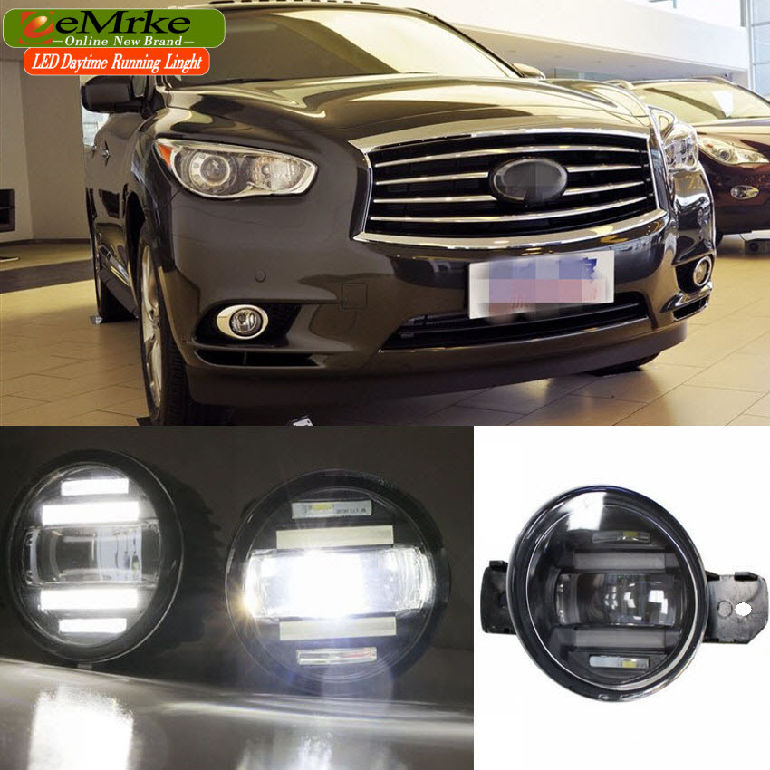 eeMrke Xenon White High Power 2in1 LED DRL Projector Fog Lamp With Lens For Infiniti JX 35 2012 2013 QX60 2013 - up eemrke xenon white high power 2 in 1 led drl projector fog lamp with lens daytime running lights for renault kangoo 2 2008 2015