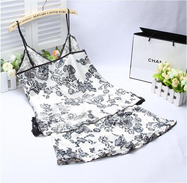 Ladies Sexy Silk Satin Sleepwear Sleeveless Pyjama V-neck Pijama Floral Pajama Set Plus Size Sleep Wear Lace Nightwear For Women 4