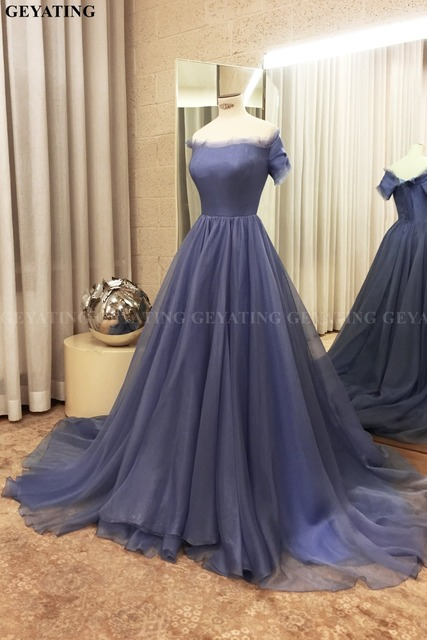 Elegant Off the Shoulder Purple Arabic Evening Dress with Sleeves Sexy Formal Long Dubai Prom Dresses 2019 Plus Size Court Train