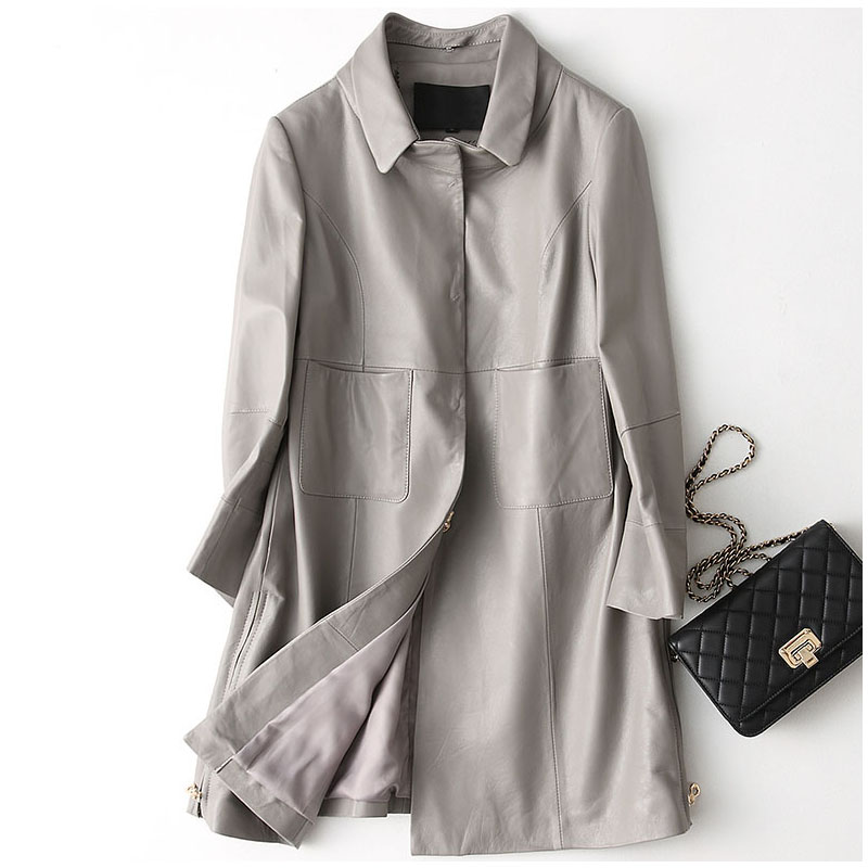 Женская куртка из натуральной овчины средней длины, верхняя одежда со съемным воротником, куртка из натуральной кожи размера плюс на осень
