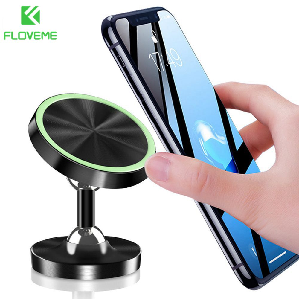 FLOVEME Luminous Magnetic Car Phone Holder Stand In Car For IPhone X Samsung Magnet Air Vent Mount Cell Mobile Phone Support GPS