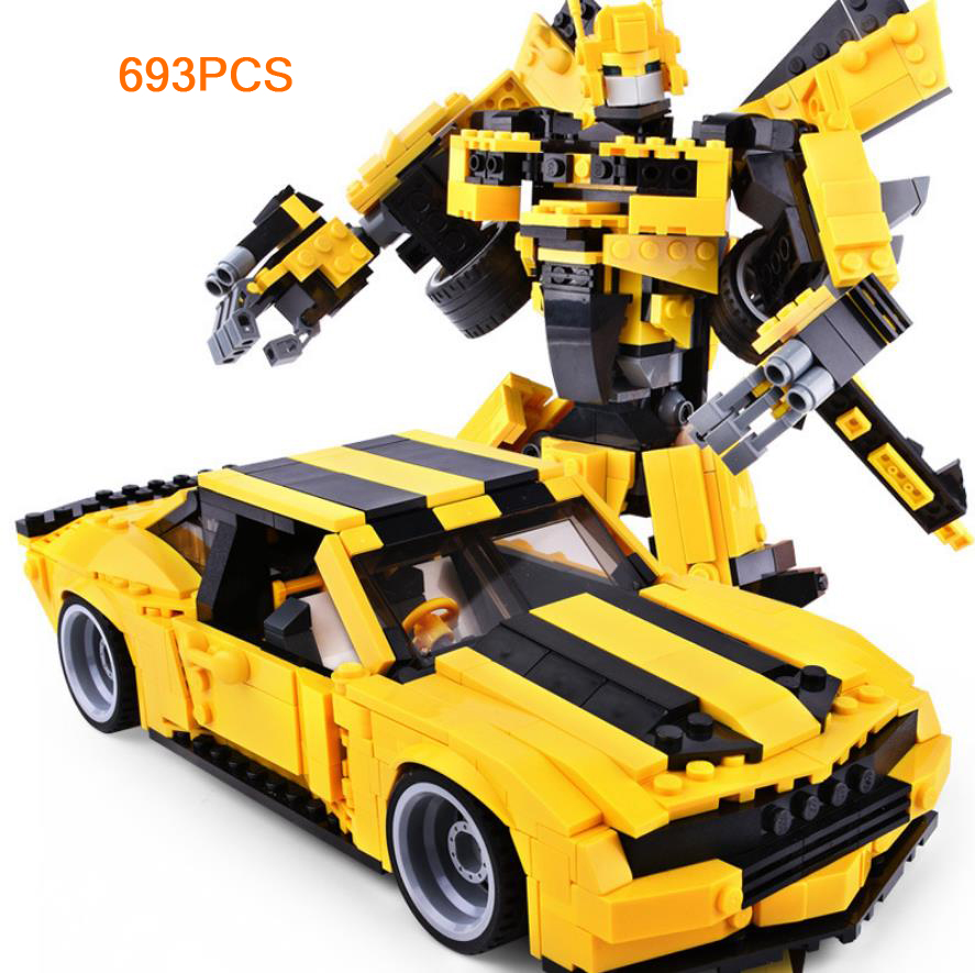 Hot movie Transformation super robot bee building block Chevrolet Muscle sports car Camaro auto bricks toys collection for giftsHot movie Transformation super robot bee building block Chevrolet Muscle sports car Camaro auto bricks toys collection for gifts