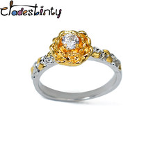 Chadestinty Romantic Gold Color Flower Rings Elegant Women's Cubic Zircon Crystal Finger Ring Bride Jewellery anillos mujer(China)