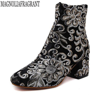 Autumn Winter Women Ankle Boots New Fashion Woman Snow Boots For Girls Ladies Heels Sequins Embroidery
