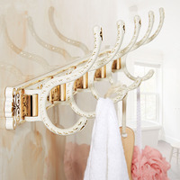Retro 4 to 5 Robe hooks white and gold on the wall,European kitchen/bathroom line hook wall, 4 Types Bedroom clothes hanger hook