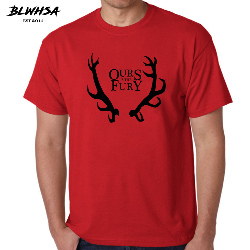 BLWHSA Game Of Thrones Men T Shirt House Baratheon A Song of Ice&Fire Ours is the Fury Tees &Tops Short Sleeve T-shirt for men